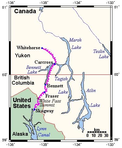 Carte de la White Pass & Yukon Route