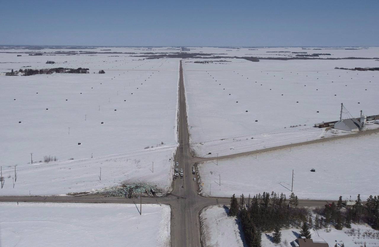Vue aérienne de l'intersection où l'accident mortel s'est produit