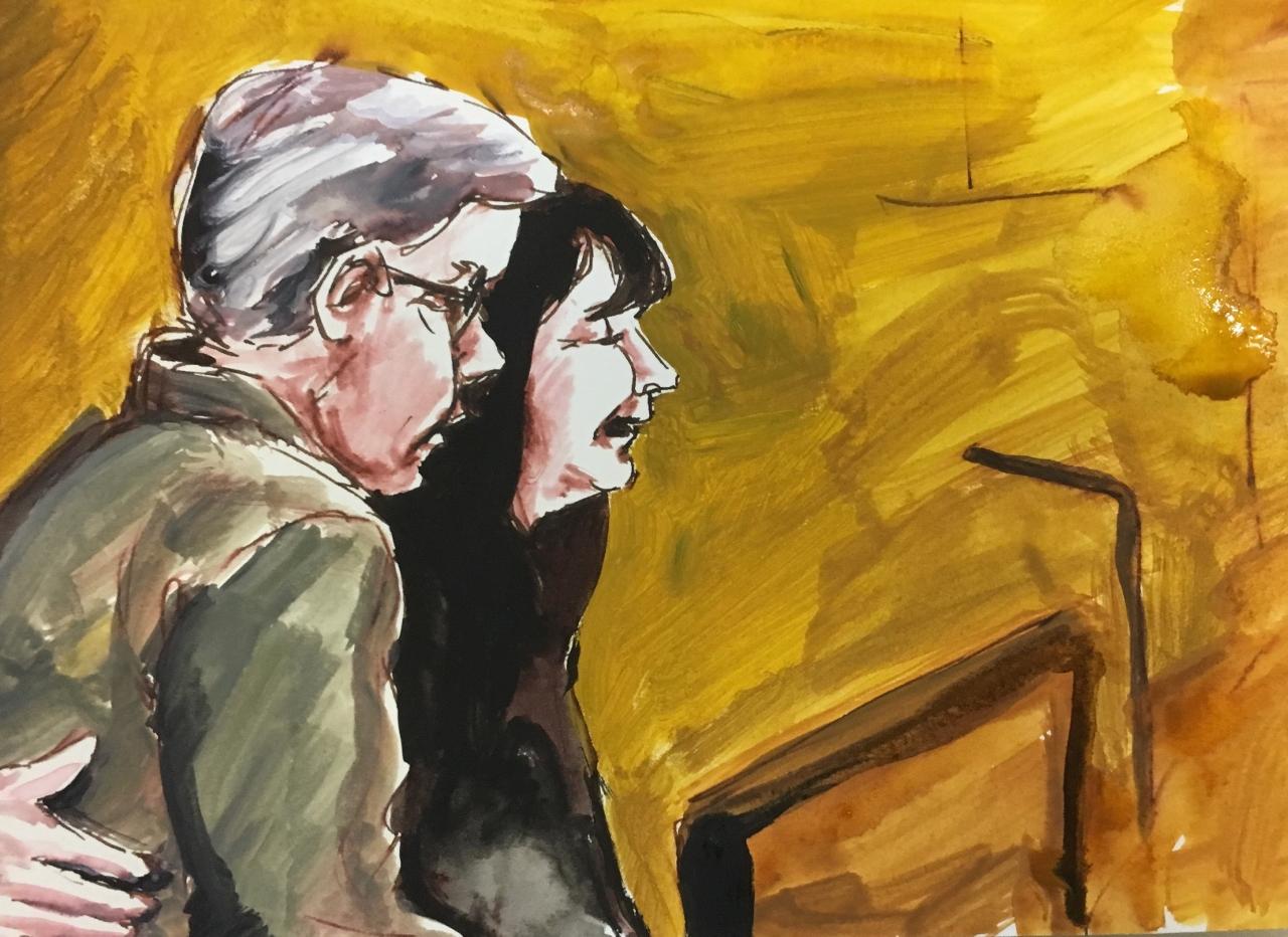 Croquis, réalisé dans la salle d'audience, de Tanya et Paul Labelle faisant une déclaration sur les répercussions sur la victime.