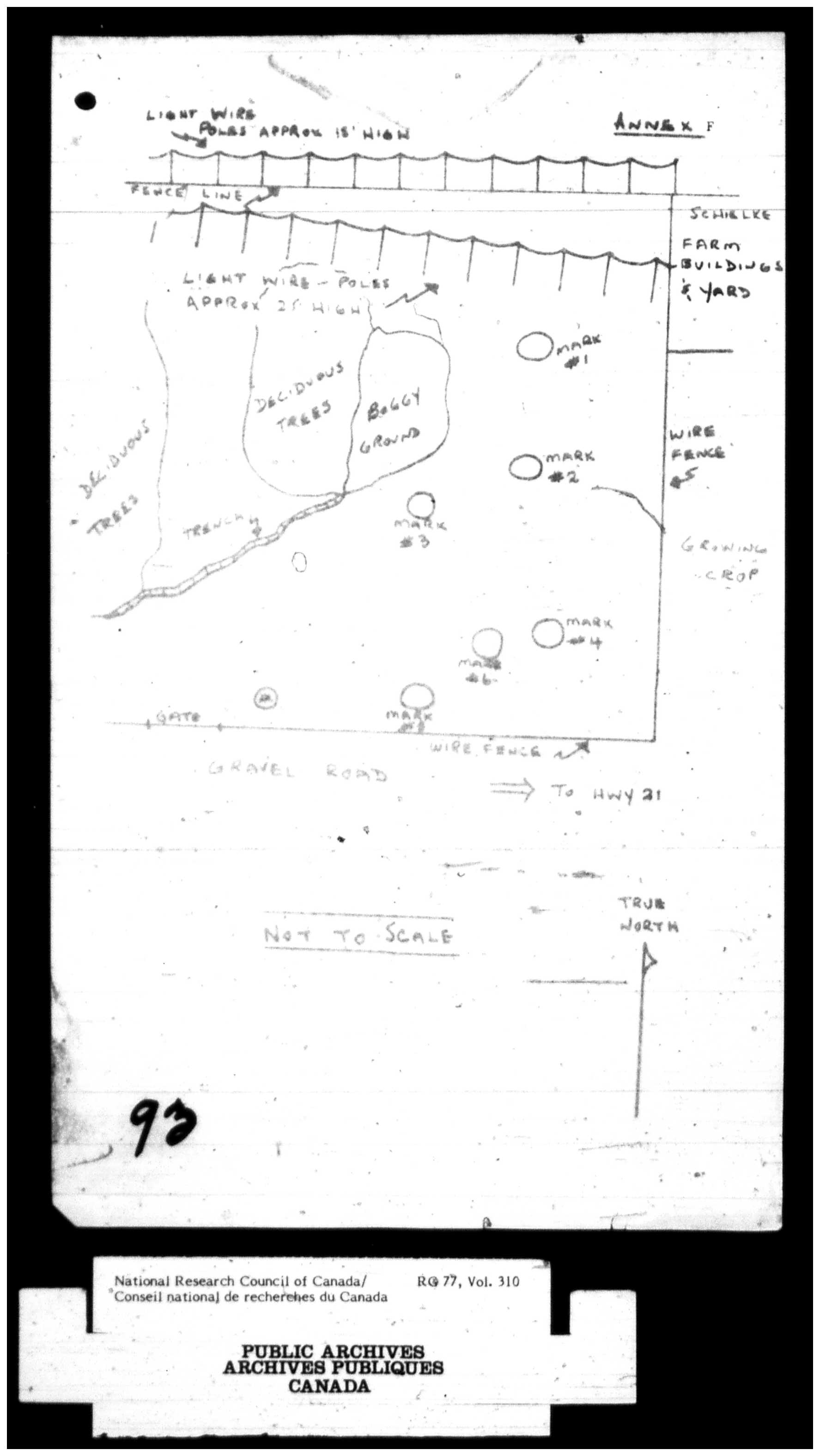 Sketch of the Duhamel, Alberta crop circles reported in 1967