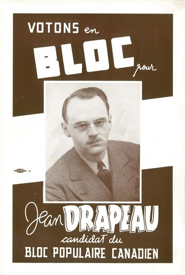 Affiche de Jean Drapeau, candidat pour le Bloc populaire canadien, 1944