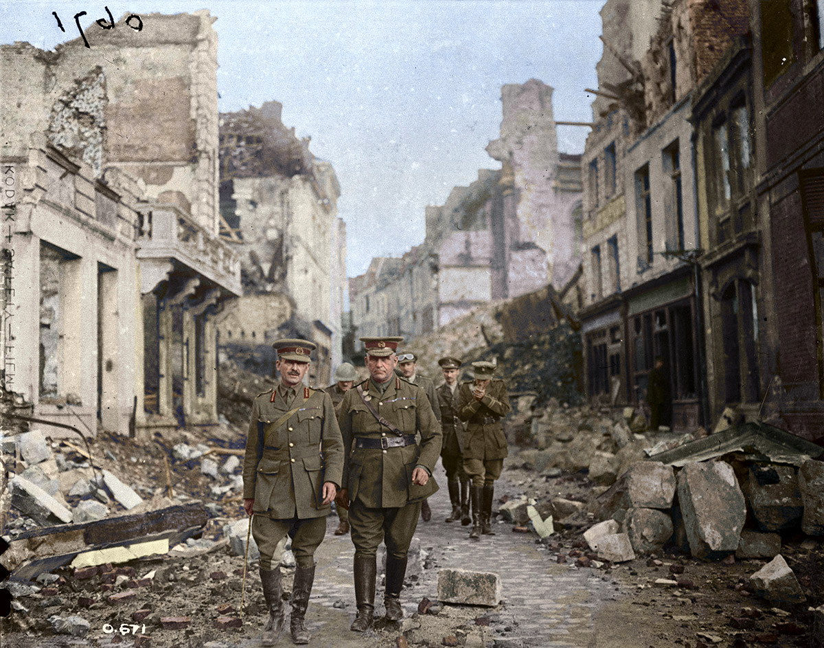 Gen. Sir Sam Hughes and Party looking at ruins in Arras, [France] August, 1916.