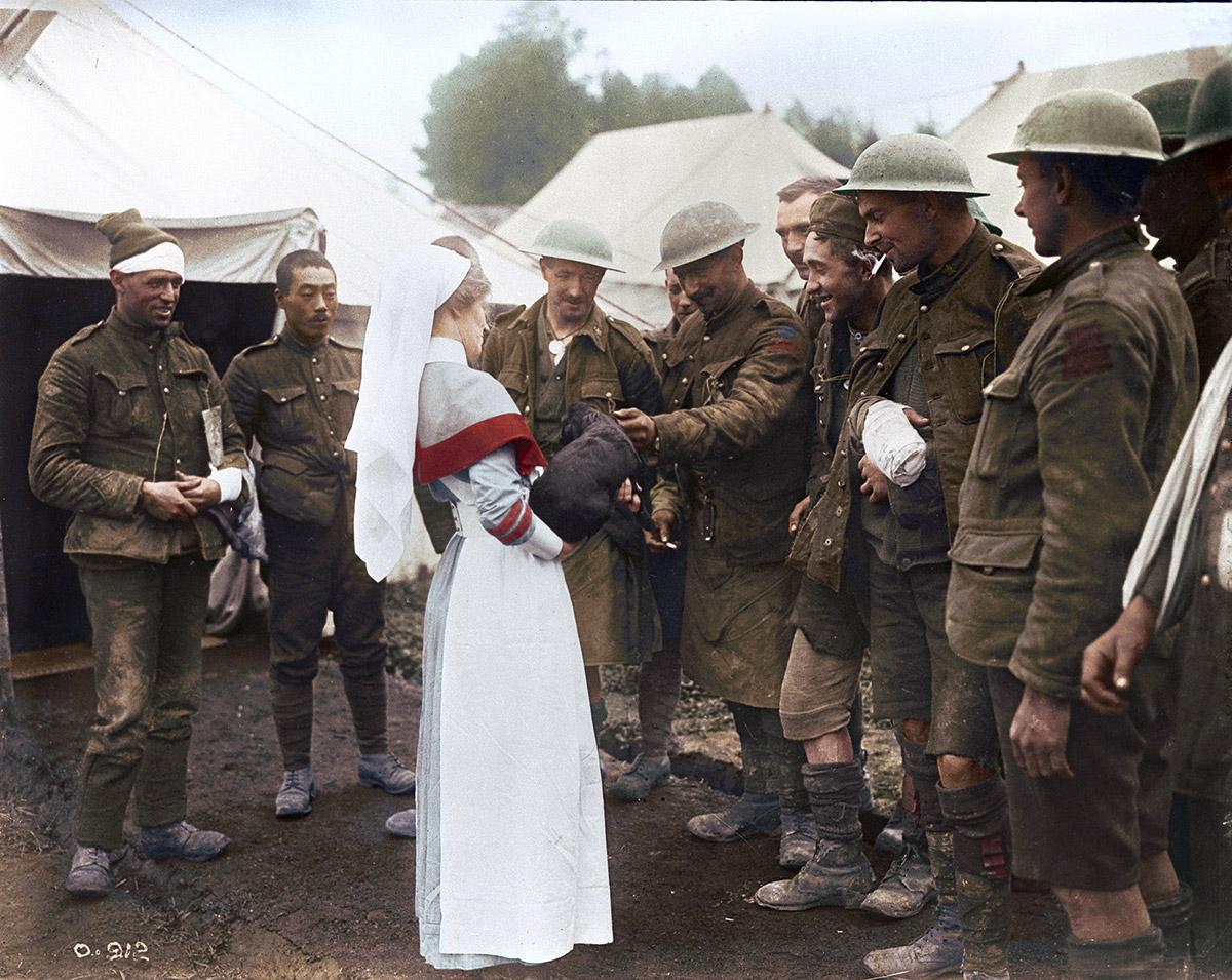 Poste de tri des blessés. Des blessés canadiens offrent à une infirmière un chien qu'ils ont ramené des tranchées, octobre 1916.