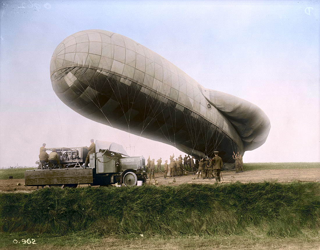 The ascent of a Kite Balloon on the Western Front. October, 1916.