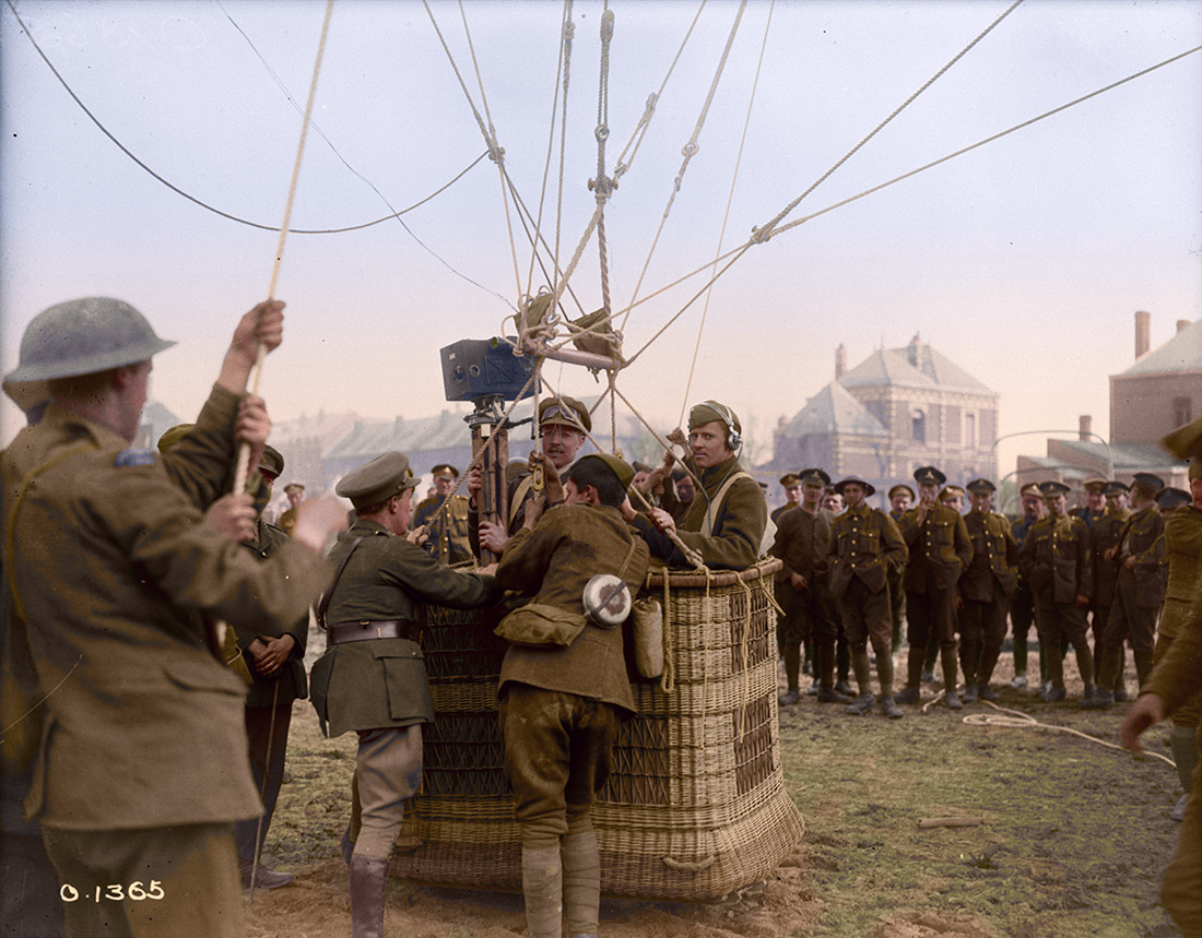 Canadian Official Kinematographer ready for an ascent on a Kite Balloon. May, 1917.