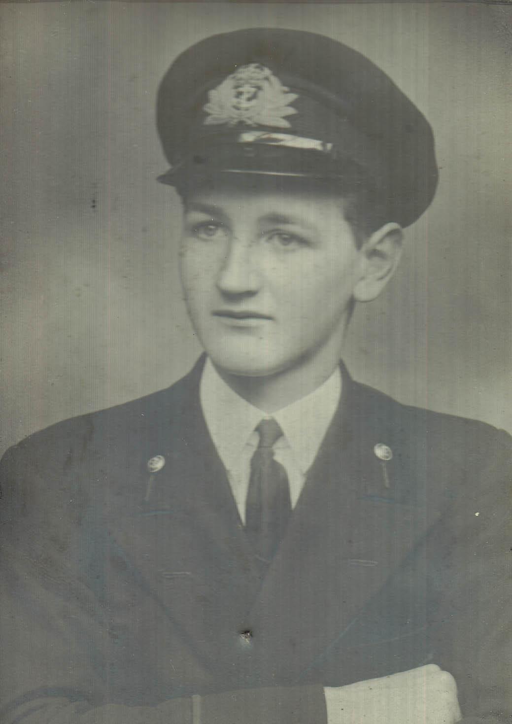 Photo of John Mackelvie in uniform, 1945.