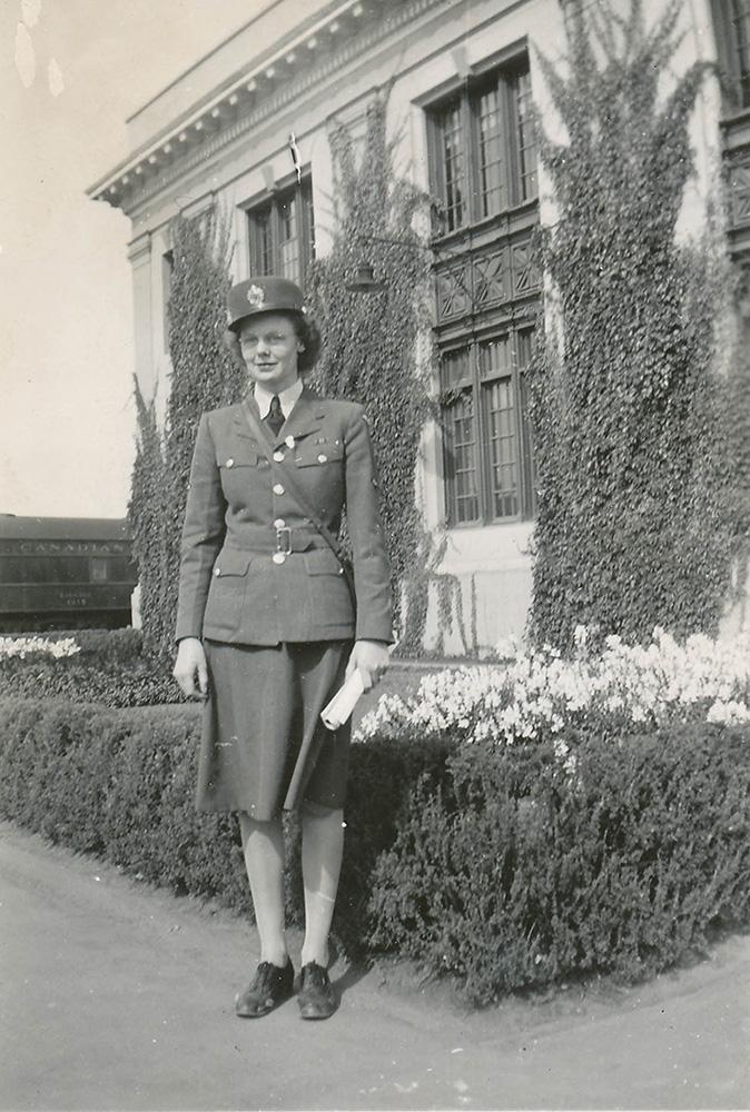Mrs. Edith Garden (née Greenly) in uniform in Edmonton, Alberta, on August 25, 1944.