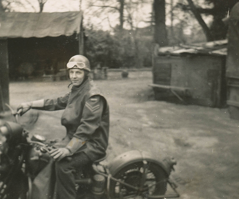 Fred Lackey training on a Norton motorcyle in Ashtead, England, 1942.