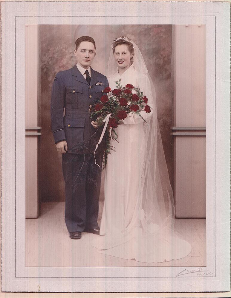 Photo of Hugh and Barbara's wedding, December 9, 1944, in Idull, England.