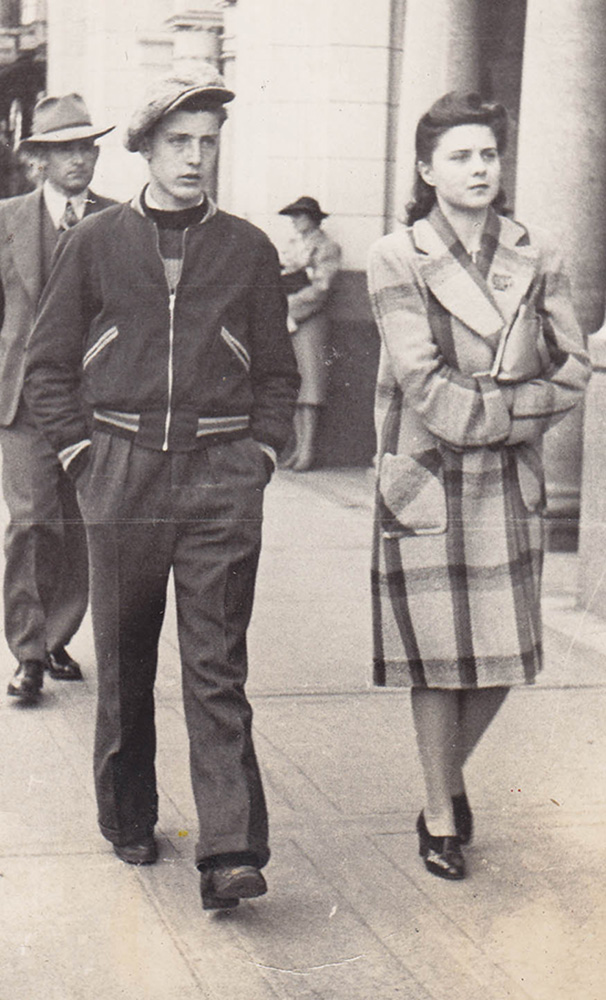 Ray Lewis and his sister on the morning he enlisted in the army, Calgary, Alberta, October 22, 1942.